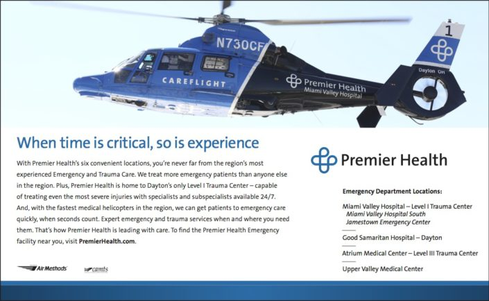 Kelly Ann Photography Commercial Dayton Cincinnati Ohio tear sheets Premier Health flyer published helicopter careflight